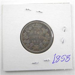 1858 Canada Silver 25 Cent Victoria