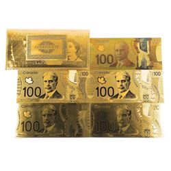 Lot (5) 24kt Gold Leaf CANADA $100.00 Collector No