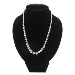 925 Silver Graduating Tennis style Necklace 85ct S