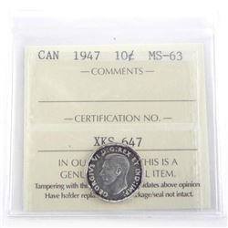 Canada 1947 Silver 10 Cent MS-63. ICCS.