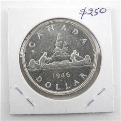 1946 Canada Silver Dollar MS-60X D.H.P: (MER)