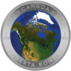 Scarce - $25 Fine Silver Coin - A View of Canada from Space. Original Issue Price: $159.95. Sold Out