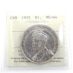 1935 Canada Silver Dollar MS64. ICCS