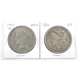 Lot (2) USA Silver Dollars 1880 (F15) 1922 (D) EF40