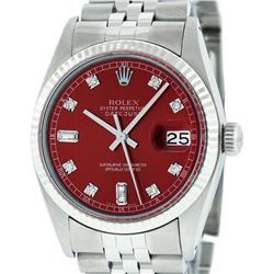 Rolex Mens Stainless Red Diamond 36MM Datejust Wristwatch