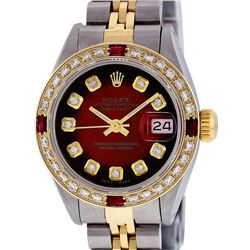 Rolex Ladies 2 Tone Red Vignette Diamond & Ruby Datejust Wristwatch