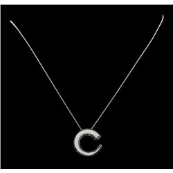1.00 ctw Diamond Pendant With Chain - 14KT White and Black Rhodium Plated Gold