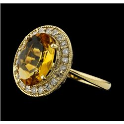 2.65 ctw Citrine and Diamond Ring - 14KT Yellow Gold