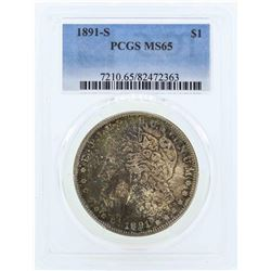 1891-S $1 Morgan Silver Dollar Coin PCGS MS65