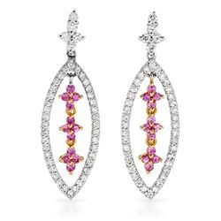 18k White Gold 1.15CTW Pink Sapphire and Diamond Earrings, (I1/Pink/H-I)