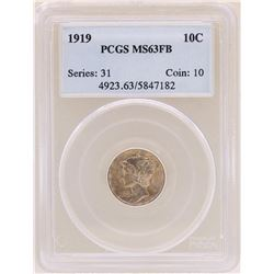 1919 Mercury Dime Coin PCGS MS63FB
