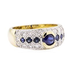 1.50 ctw Diamond and Sapphire Ring - 14KT Yellow Gold