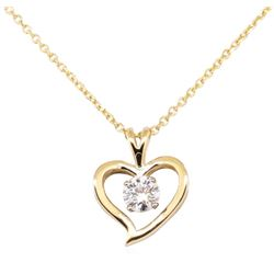 0.40 ctw Diamond Heart Shaped Pendant with Chain - 14KT Yellow Gold