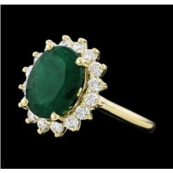 4.52 ctw Emerald and Diamond Ring - 14KT Yellow Gold