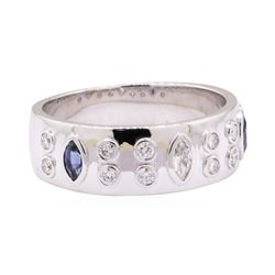 0.65 ctw Blue Sapphire and Diamond Ring - 14KT White Gold