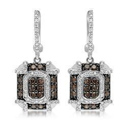 14k White Gold 1.04CTW Diamond and Brown Diamonds Earrings, (SI3/G)