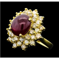 6.43 ctw Ruby And Diamond Ring - 14KT Yellow Gold