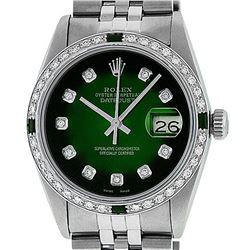 Rolex Mens Stainless Steel 36mm Green Vignette Diamond Datejust Wristwatch