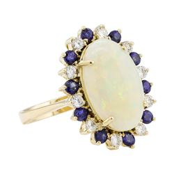4.80 ctw Opal, Sapphire, and Diamond Ring - 14KT Yellow Gold