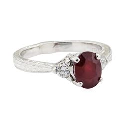 2.40 ctw Ruby and Diamond Ring - 18KT White Gold