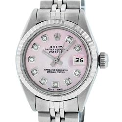 Rolex Ladies Stainless Steel Pink Diamond 26MM Datejust Wristwatch