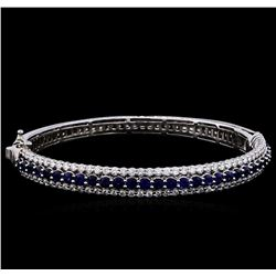 3.40 ctw Sapphire and Diamond Bracelet - 14KT White Gold