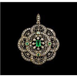 0.69 ctw Emerald and Diamond Pendant - 18KT Yellow Gold