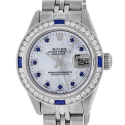 Rolex Ladies Stainless Steel MOP Diamond & Channel Set Sapphire Datejust Wristwa