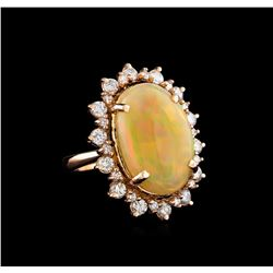 10.86 ctw Opal and Diamond Ring - 14KT Rose Gold