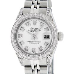 Rolex Ladies Stainless Steel White Diamond Lugs & Datejust Wristwatch