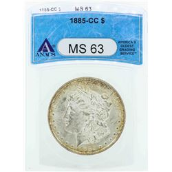 1885-CC $1 Morgan Silver Dollar Coin ANACS MS63