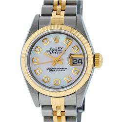 Rolex Ladies Quickset 2 Tone 18K Mother Of Pearl Diamond Datejust Wristwatch