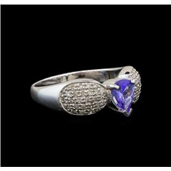 14KT White Gold 0.70 ctw Tanzanite and Diamond Ring