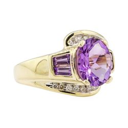 2.70 ctw Amethyst and Diamond Ring - 14KT Yellow Gold
