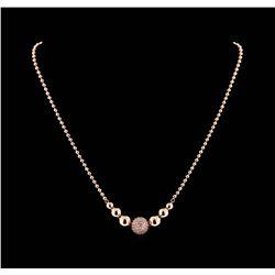 1.40 ctw Diamond Necklace - 14KT Rose Gold