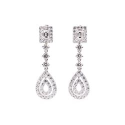 3.70 ctw Diamond Earrings - 14KT White Gold