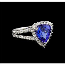 14KT White Gold 5.22 ctw Tanzanite and Diamond Ring