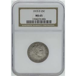 1915-D Barber Quarter Silver Coin NGC MS65