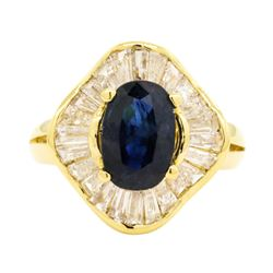 2.90 ctw Sapphire and Diamond Ring - 18KT Yellow Gold