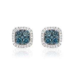 14k White Gold 0.58CTW Diamond and Blue Diamonds Earrings, (SI/H)