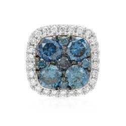 14k White Gold 0.47CTW Diamond and Blue Diamonds Pendant, (SI/H)