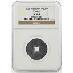1905 Vietnam Tonkin 1/600 Piastre Coin NGC MS63
