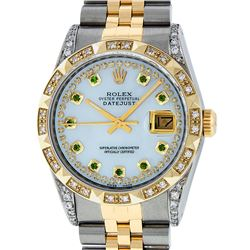 Rolex Mens 2 Tone 14K Lugs MOP Emerald String Pyramid Diamond Datejust