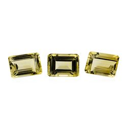 25.06 ctw.Natural Emerald Cut Citrine Quartz Parcel of Three