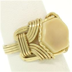 14k Yellow Gold Hexagon White Coral & Wrought Gold Wire Ring
