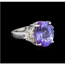 14KT White Gold 8.25 ctw Tanzanite and Diamond Ring