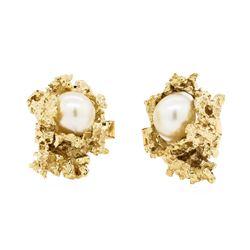 Baroque Pearl Cufflinks - 14KT Yellow Gold