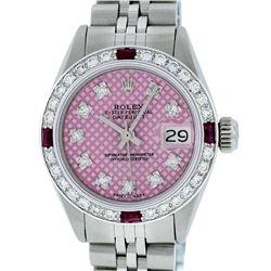 Rolex Ladies Stainless Steel Pink Stamp Diamond & Ruby Datejust Wristwatch