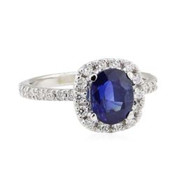 1.98 ctw Sapphire and Diamond Ring - 14KT White Gold