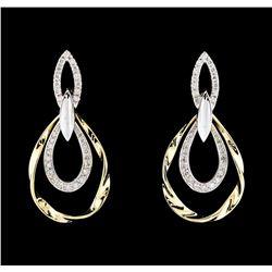 0.67 ctw Diamond Earrings - 14KT Two-Tone Gold